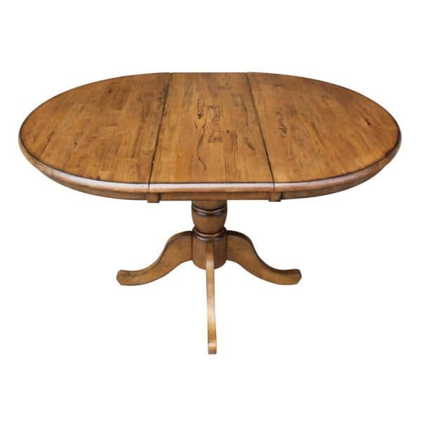 H Pecan Extension Laurel Pedestal Table, Round Table With Leaf Extension
