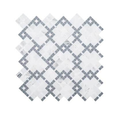 Madras Cotton White 12.5 in. x 12.5 in. Geometric Marble Wall and Floor Mosaic Tile (1.08 sq. ft./Each)