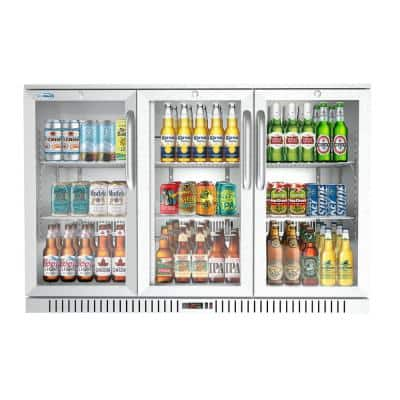 53 in. W 11 cu. ft. 3-Glass Door Counter Height Back Bar Cooler Refrigerator with LED Lighting in Stainless Steel