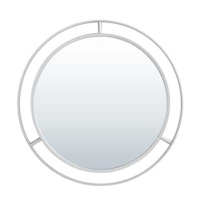 28.00 in. D Oversized Deluxe Silver Metal Round Mirror