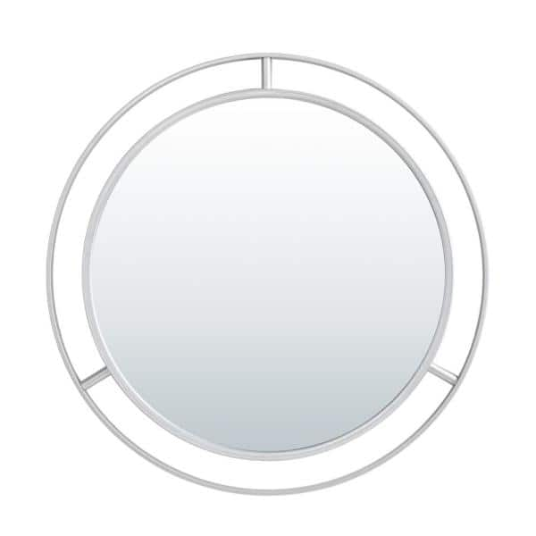 Glitzhome 28 00 In D Oversized Deluxe, Round Silver Wall Mirror Metal