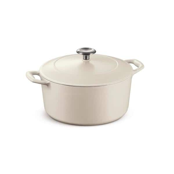 Tramontina - Gourmet 5.5 qt. Round Enameled Cast Iron Dutch Oven in Matte White with Lid