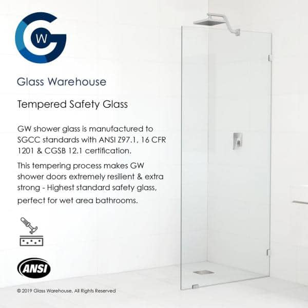 Glass Warehouse 63 In X 78 In Frameless Wall Hinged Shower Door In Brushed Nickel Gw Wh 63 Bn The Home Depot