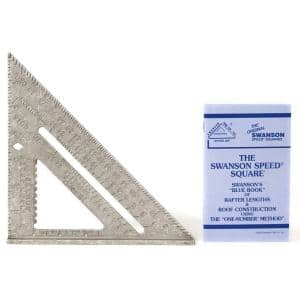 7 in. Speed Square, Rafter / Carpenter Square Layout Tool with Etched Markings and Blue Book