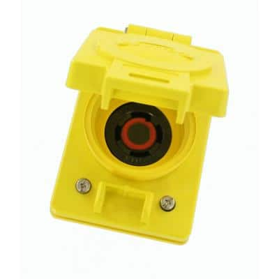30 Amp 480-Volt 3-Phase Wetguard Flush Mounting Locking Grounding Outlet with Cover, Yellow