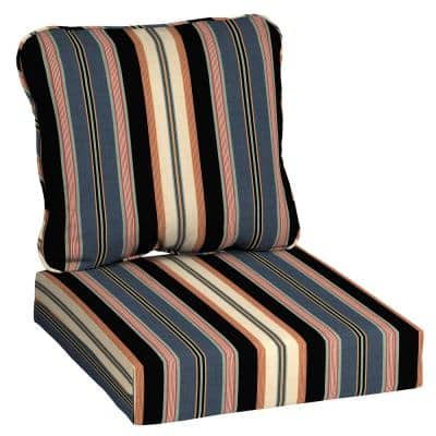 24 in. x 22 in. Black Stripe 2-Piece Deep Seating Outdoor Lounge Chair Cushion