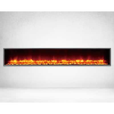 79 in. Built-in LED Electric Fireplace in Black Matt