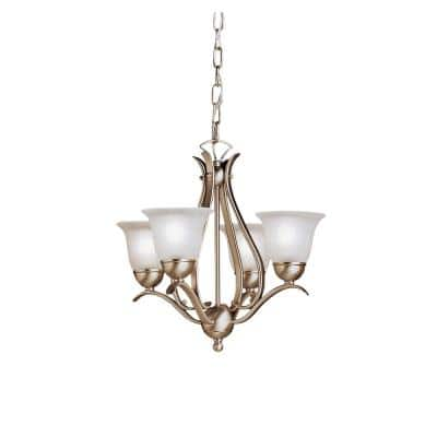 Dover 4-Light Brushed Nickel Mini Chandelier with White Etched Glass Shade