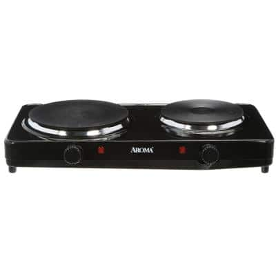 Double Burner 7.5 in. Black Diecast Hot Plate with Temperature Control