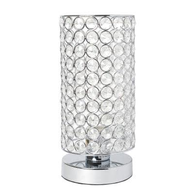 10.75 in. 1-Light Chrome Elipse Crystal Bedside Nightstand Cylindrical Uplight Table Lamp