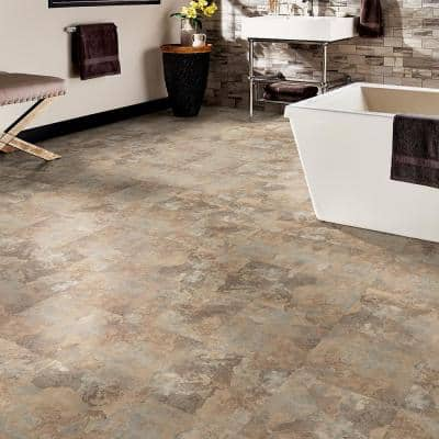 Beige Slate 12 in. Width x 12 in. Length x 0.080 in. Thick Peel and Stick Vinyl Tile (30 sq. ft. / case)