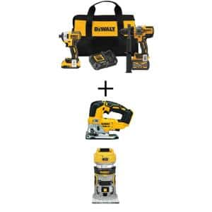 20V MAX Cordless Brushless Hammer Drill/Driver Combo Kit (2-Tool) with 20V Jigsaw and 20V Compact Router (Tools-Only)