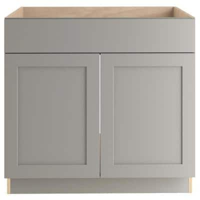 Edson Shaker Assembled 36x34.5x24.5 in. Sink Base Cabinet in Gray