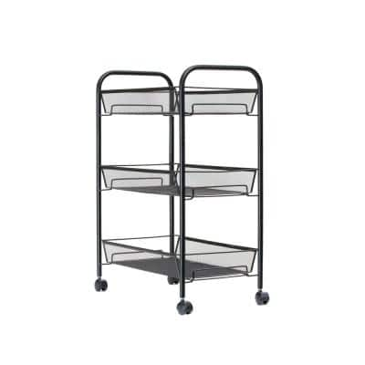 3-Tier Metal 4-Wheeled Multi-Purpose Cart in Black