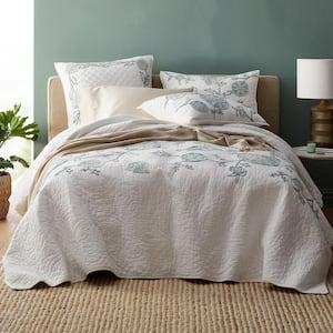 Alden Floral Embroidered Cotton Linen Full/Queen Quilt