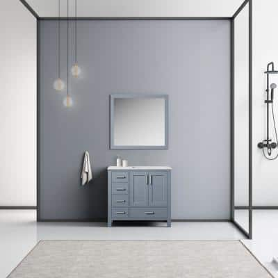 Jacques 36 in. W x 22 in. D Single Bath Vanity in Dark Grey with Marble Top and Mirror-Right Version