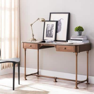 50.25 in. Burnt Oak Rectangular 2 -Drawer Writing Desk with Industrial Angles