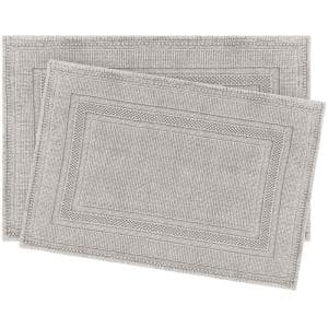 Cotton Stonewash Racetrack Taupe Gray 20 in. x 32 in Solid Bordered 2-Piece Bath Rug Set