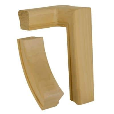 7281 Unfinished Poplar 2-Rise Left-Hand Gooseneck with Cap Hand Rail Fitting