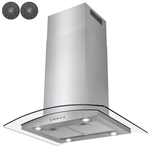 Golden Vantage 30 In Convertible Kitchen Island Mount Range Hood In Stainless Steel With Tempered Glass Led Lights And Carbon Filters Rh0300 The Home Depot