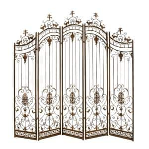 6 ft. Brown Traditional Metal Garden Gate with Ornate Scrollwork 5-Panel Room Divider