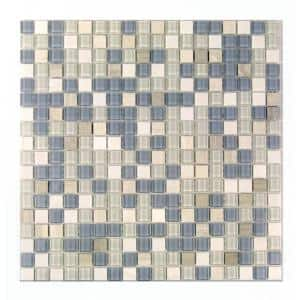 Crystal Stone Angel Feather Beige Square Mosaic 1 in x 1 in Glass and Stone Wall and Pool Tile (0.97 Sq. ft.)