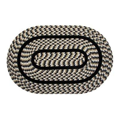 Crecent Braid Collection is Durable and Stain Resistant Reversible Black 42 in. x 66 in. Oval Polypropylene Area Rug