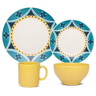 Actual Yellow and Blue 16-Piece Casual Yellow and Blue Earthenware Dinnerware Set (Service for 4)
