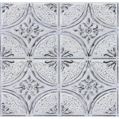 Camden 21 in. x 21 in. Antique White Faux Tin Peel and Stick Backsplash Tiles