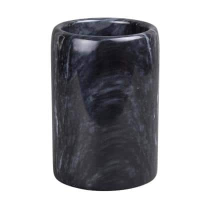 Natural Marble SPA Collection Tumbler Toothbrush Holder Makeup Brush Organizer for Bathroom or Kitchen Countertop, Black