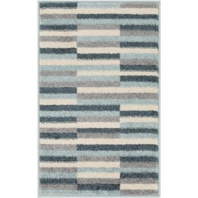 Mystic Griffith Geometric Modern Distressed Blue 20 in. x 31. in Accent Door Mat