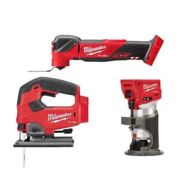 M18 FUEL 18-Volt Lithium-Ion Cordless Brushless Oscillating Multi-Tool with FUEL Compact Router and Jigsaw (3-Tool)