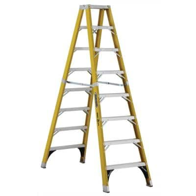 8 ft. Fiberglass Twin Step Ladder with 375 lbs. Load Capacity Type IAA Duty Rating