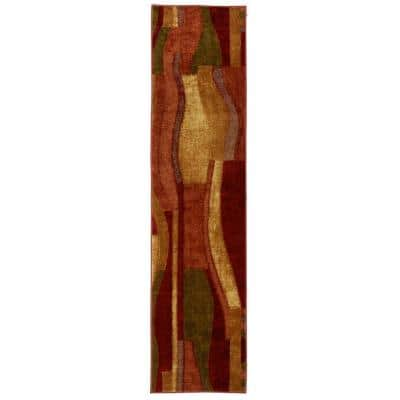Piscasso Wine 2 ft. x 8 ft. Machine Washable Abstract Runner Rug