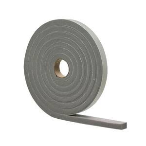 1/2 in. x 10 ft. Gray High-Density PVC Foam Weatherstrip Tape