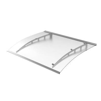 4.9 ft. PA Series Solid Polycarbonate Door and Window Awning (59 in. H x 35 in. D) Frosted with Aluminum Brackets