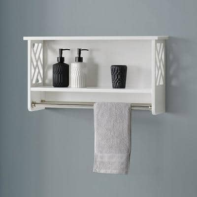 Coventry 25 in. W x 14 in. H Wall-Mounted Bath Shelf with Two Towel Rods in White