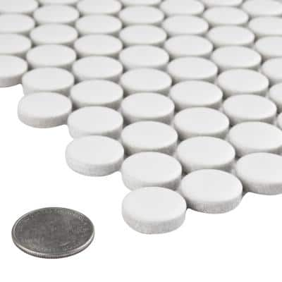 Metro Penny Matte White 9-3/4 in. x 11-1/2 in. Porcelain Mosaic (7.97 sq. ft./Case)