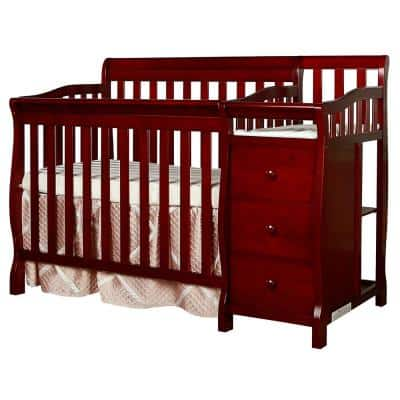 Jayden 4-in-1 Cherry Mini Convertible Crib And Changer