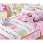 Little Cute Birds Owls Spring Floral 8 Piece Pink Purple Patchwork Cotton Queen Quilt Bedding Set & Decor Throw Pillows