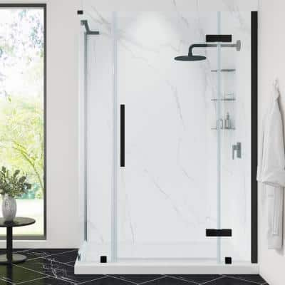 Tampa 54 in. L x 32 in. W x 72 in. H Corner Shower Kit with Pivot Frameless Shower Door in Black and Shower Pan