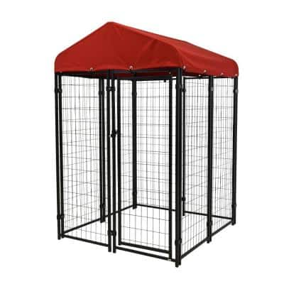 4 ft. x 4 ft. Uptown Pet Kennel Kit with Sunbrella in Firehouse Red