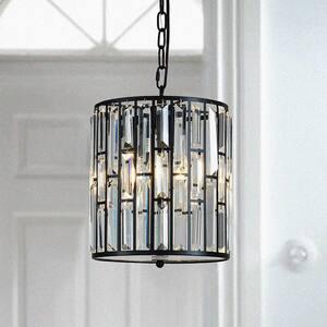 Elmira 3-Light Crystal Lantern Dump Pendant with Wrought Iron Accents