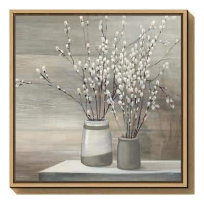 """""""Pussy Willow Still Life Gray Pots Crop"""" by Julia Purinton Framed Canvas Wall Art"""