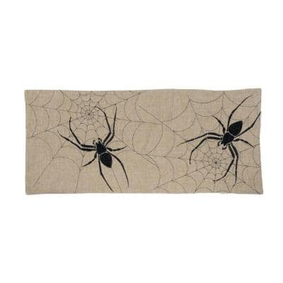 0.1 in. H x 16 in. W x 36 in. D Halloween Creepy Spiders Double Layer Table Runner in Natural