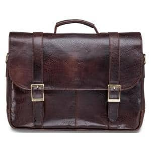 Arizona Collection Brown Leather Double Compartment Porthole Briefcase for 15.6 in. Laptop/Tablet
