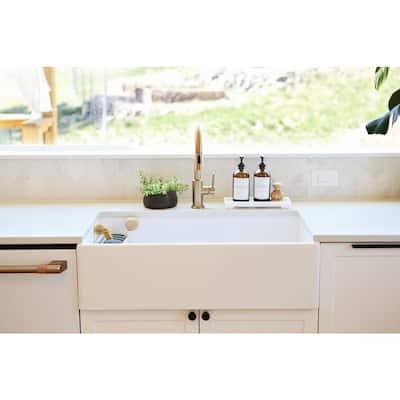Bradstreet II Farmhouse Apron-Front Fireclay 33 in. Single Bowl Kitchen Sink in Crisp White