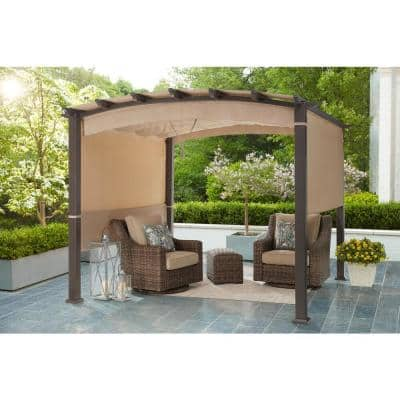 Millbay 10 ft. x 10 ft. Steel Outdoor Patio Arched Pergola with Retractable Canopy and 2 Side Panels
