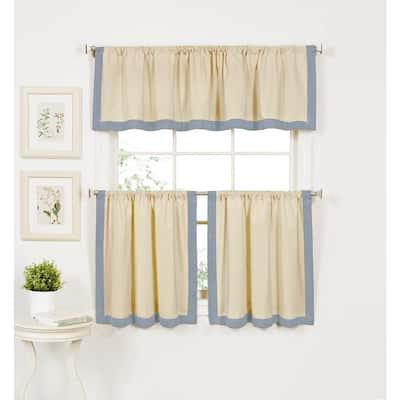 Blue Border Rod Pocket Room Darkening Curtain - 30 in. W x 24 in. L (Set of 2)