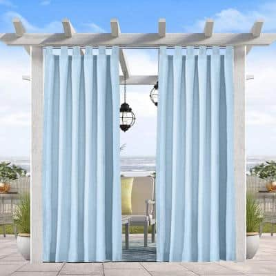 50 in x 96 in Patio Outdoor Curtain UV Privacy Drape Waterproof Window Treatment Solid Tab Top Panel , Blue